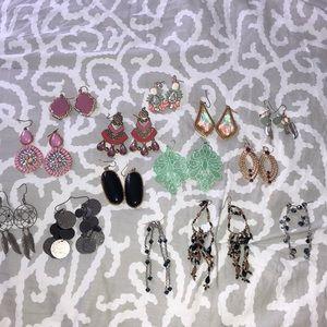Bundle of dangly earrings